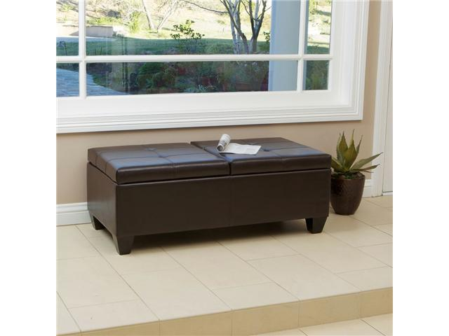 Pleasing Christopher Knight Alfred Brown Leather Storage Ottoman Newegg Com Cjindustries Chair Design For Home Cjindustriesco