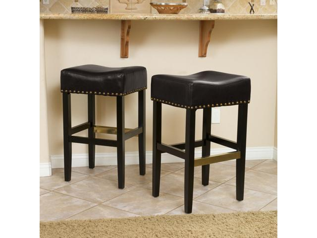 Tremendous Christopher Knight Home Lisette Backless Black Leather Counter Stool Set Of 2 Ocoug Best Dining Table And Chair Ideas Images Ocougorg