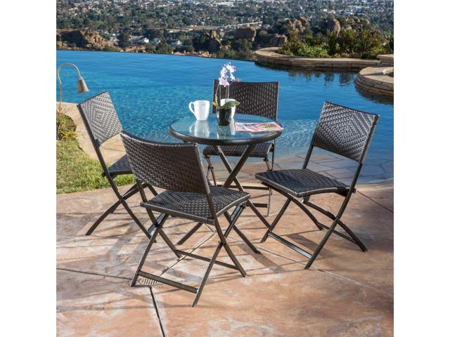 Stupendous Christopher Knight Home El Paso Outdoor 5 Piece Multi Brown Wicker Folding Dining Set Newegg Com Machost Co Dining Chair Design Ideas Machostcouk