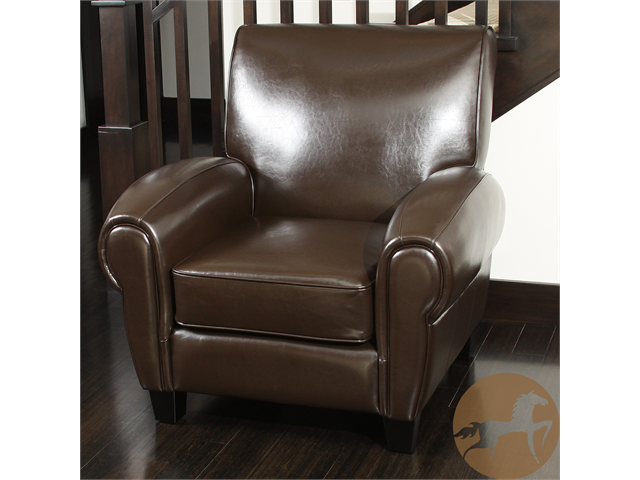 Beau Christopher Knight Home 234124 Finley Brown Bonded Leather Club Chair