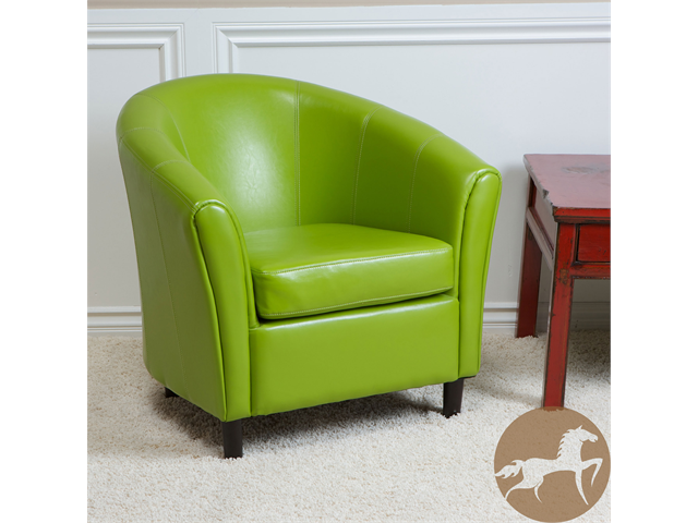 Christopher Knight Home 220323 Napoli Sherri Bonded Leather Chair   Lime  Green