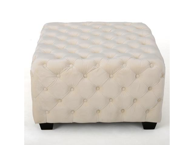 Miraculous Christopher Knight Home Piper Tufted Velvet Fabric Square Ottoman Bench Machost Co Dining Chair Design Ideas Machostcouk