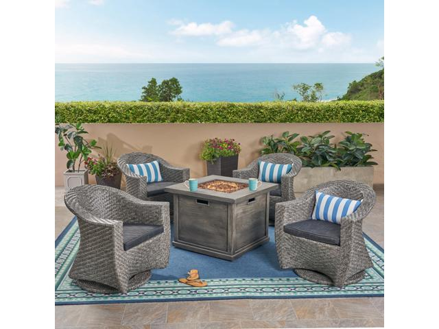 Marvelous Christopher Knight Home Morant Patio Fire Pit Set 4 Seater With Wicker Swivel Chairs Mixed Black Dark Gray Gray With Wood Design Cjindustries Chair Design For Home Cjindustriesco