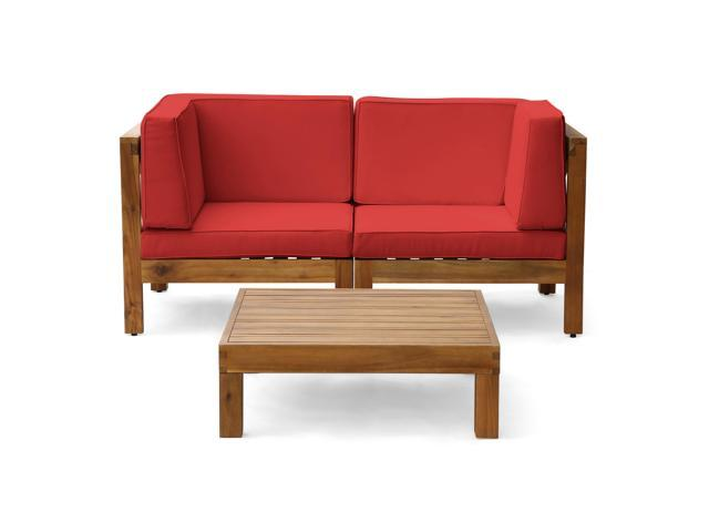 Incredible Christopher Knight Home Oana Outdoor Modular Acacia Wood Loveseat And Table Set With Cushions Teak And Red Evergreenethics Interior Chair Design Evergreenethicsorg