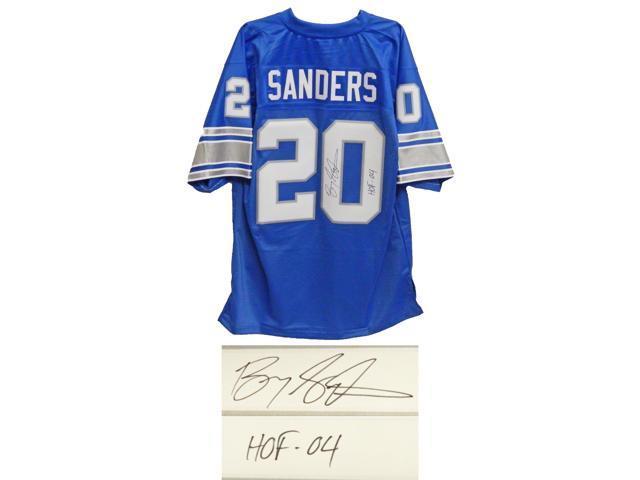 sports shoes f9498 38dbe Barry Sanders Signed Lions Blue NFL Pro Line Vintage Premier ...
