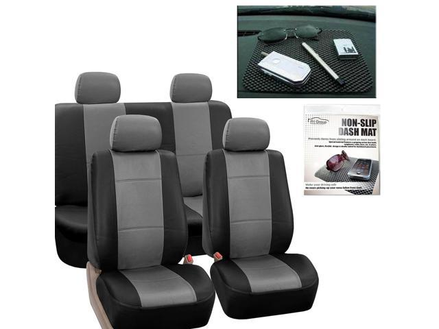 Faux Leather Car Seat Covers Gray Black With Headrests Dash Grip Pad