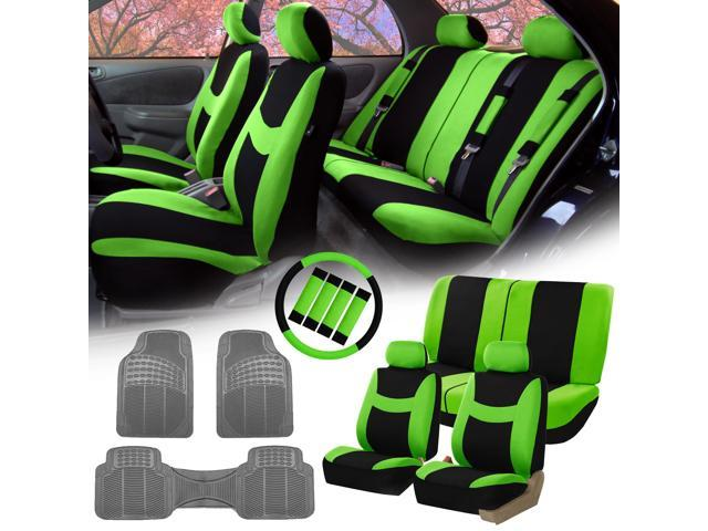 Green Black Car Seat Covers For Auto W Steering Cover Belt Pads Floor