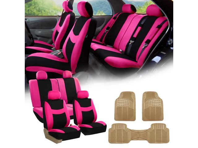 Pink Black Car Seat Covers Full Set For Auto W4 Headrests Rubber