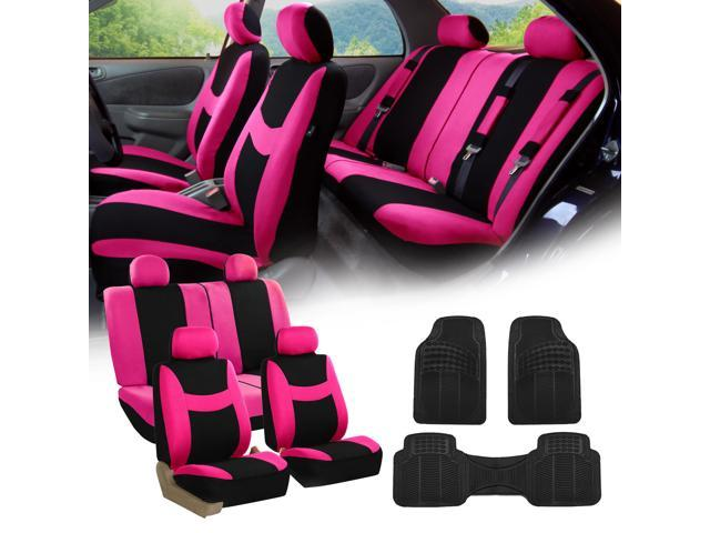 pink black car seat covers full set for auto w 4 headrests rubber floor mats. Black Bedroom Furniture Sets. Home Design Ideas