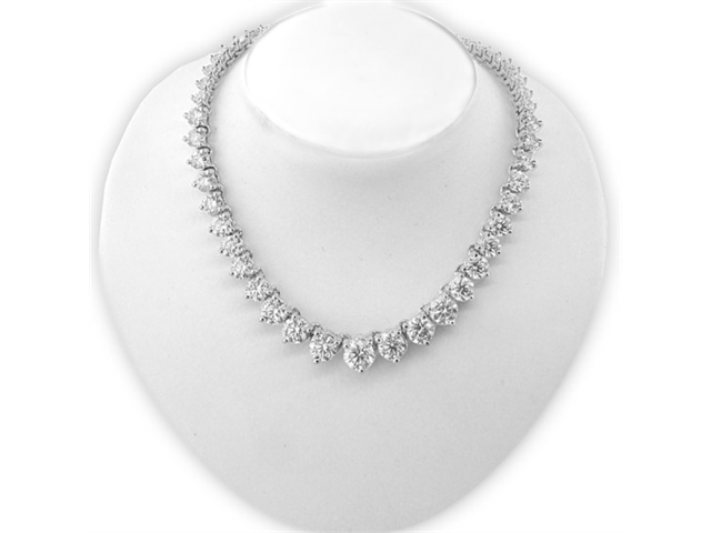 7fabeb348a3d63 15.00ct tw 18K White Gold 16 Inch Tennis Necklace GH SI Graduated Diamonds
