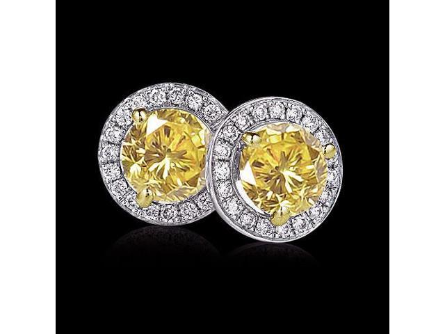 8 Carat Certified Yellow Canary Diamonds Stud Earrings