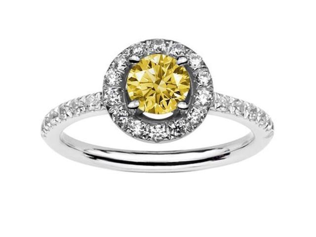 1.61 CARATS Yellow Canary & White Round Diamond Engagement