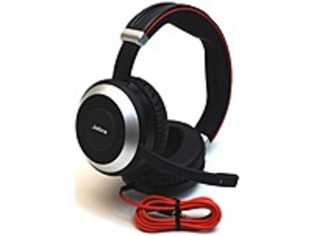 Refurbished Jabra Evolve 80 Headset Stereo Mini Phone Wired Over The Head Binaural Circumaural Noise Cancelling Microphone Newegg Com