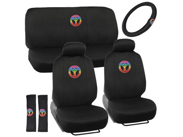 Car Interior Peace Symbol Seat Covers For Front Rear Universal Fit