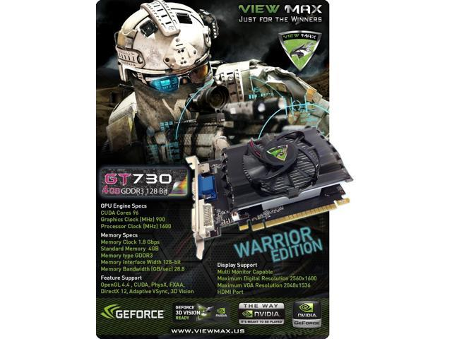 ViewMax GeForce GT 730 4GB GDDR3 128 Bit PCI Express (PCIe) DVI Video Card  HDMI & HDCP Support - Product code name : * AMERICAN WARRIOR EDITION * -