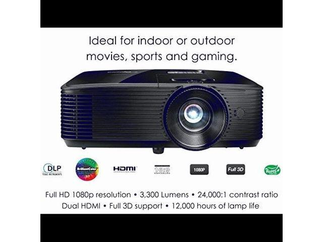Optoma HD243X 1080p Projector for Movies and Gaming, Super Bright 3300  Lumens, Long 12000h Lamp Life, 3D Support, Easy Setup with Zoom and  Keystone