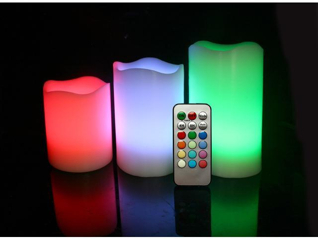 Candle Choice Candle Set Of 3 Round Melted Edge Remote