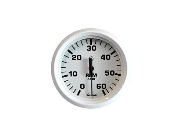"FARIA DRESS WHITE 4/"" TACHOMETER 6000 RPM GAS"