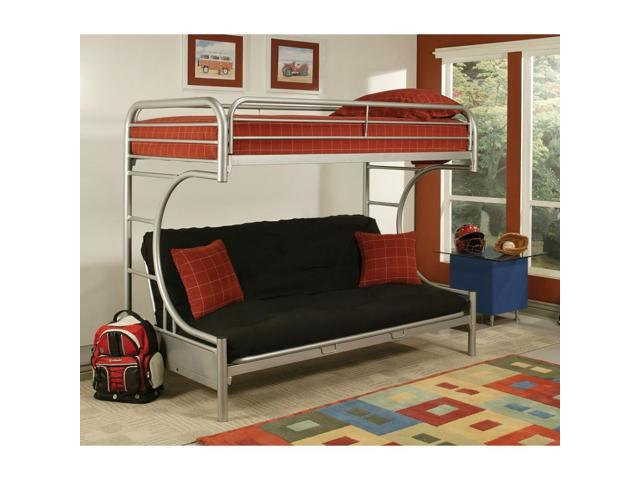 Benzara Bm185833 Metal Twin Over Full Size Futon Bunk Bed With Built In Side Ladders Silver Newegg Com