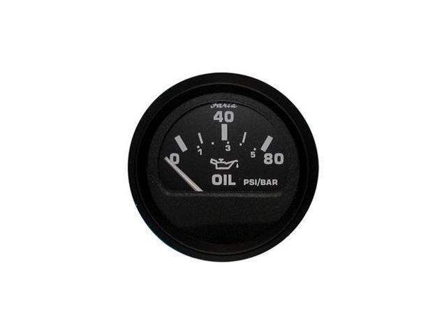 80 PSI Faria Euro Black Oil Pressure Gauge
