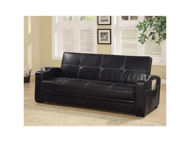 BENZARA BM158134 Faux Leather Sofa Bed with Storage and Cup Holders, Black  - Newegg.com