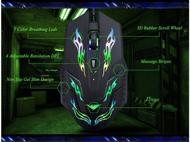 2014 2400DPI RAJFOO I5 Upgrade 7D Optical Usb Molten Gaming Mouse WOW CS CF FPS MMO LOL