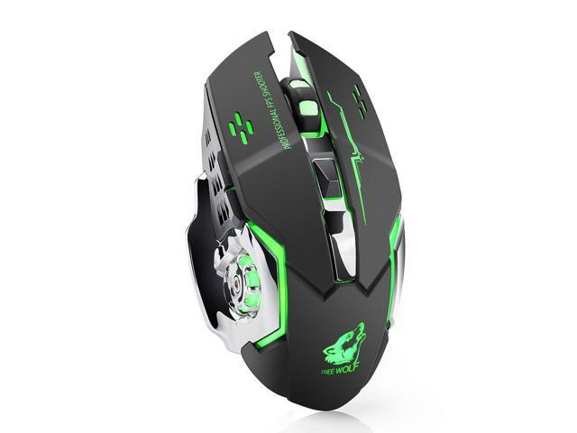Colorful 7-Color Backlit Breathing Comfortable Gaming Mouse for Computer Desktop Laptop Notebook Computer,Black Rechargeable Wireless Gaming Mouse