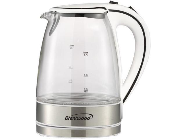 Brentwood Appliances Kt 1900w 1 7 Liter Cordless Tempered Glass Electric Kettle White Newegg Com