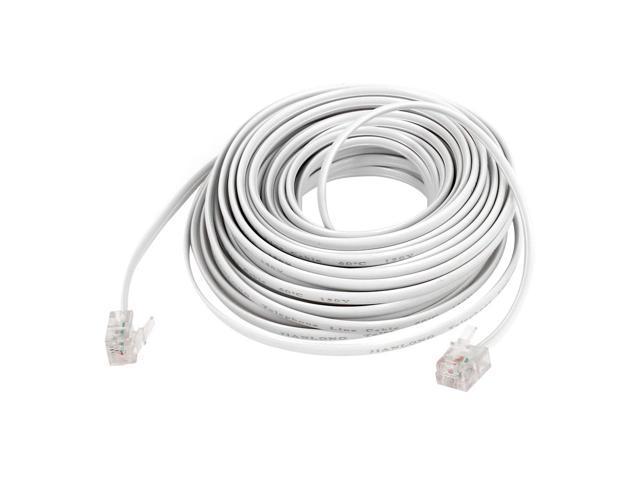 unique bargains 10m 33ft length 6p2c rj11 male plug phone telephone extension cable cord white