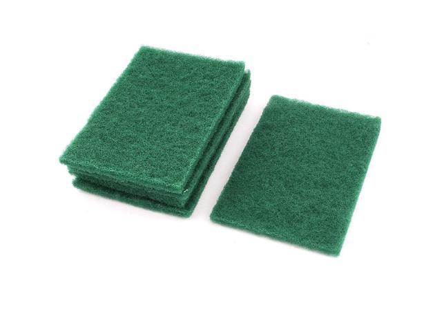 Unique Bargains Kitchen Bowl Dish Wash Clean Scrub Sponge Cleaning Pads Green 5pcs For Home Essential