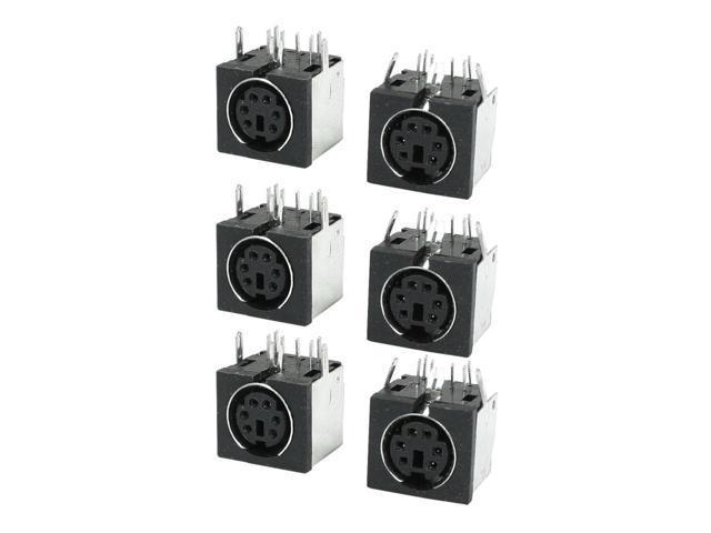 Unique Bargains Metal DIN 6 Pins Female S-video PCB Mount Sockets  Connectors 6 Pcs - Newegg com