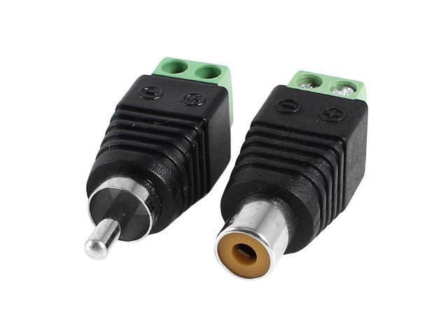 2 Pcs Screw Terminal Coaxial Cat5 to RCA Female Male Audio Balun Connector  - Newegg com