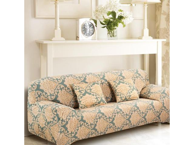 Excellent Home Polyester Leave Flower Pattern Elastic Loveseat Cover Slipcover 55 74 Inch Squirreltailoven Fun Painted Chair Ideas Images Squirreltailovenorg