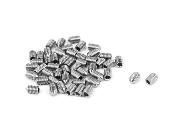 Global Bargains M3 x 5mm Cone Point Hex Socket Set Grub Screw Silver Tone  50 Pcs - Newegg com