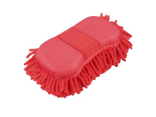 Home Chenille Car Windshield Polishing Glass Washing Cleaning Sponge Pad  Red - Newegg com