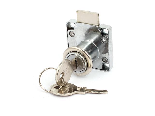 19mm x 22mm Cylinder Metal Square Base Drawer Lock Locker Silver Tone w 2 Keys