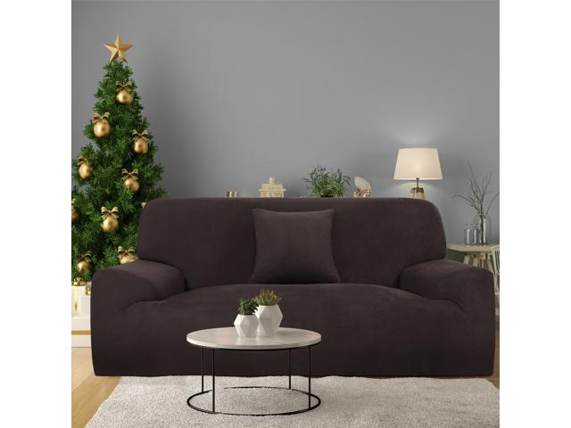Velvet Plush Sofa Cover Loveseat Couch Slipcover Machine Washable Stylish Furniture Protector Covers With One Cushion Case 2 Seater Coffee Color
