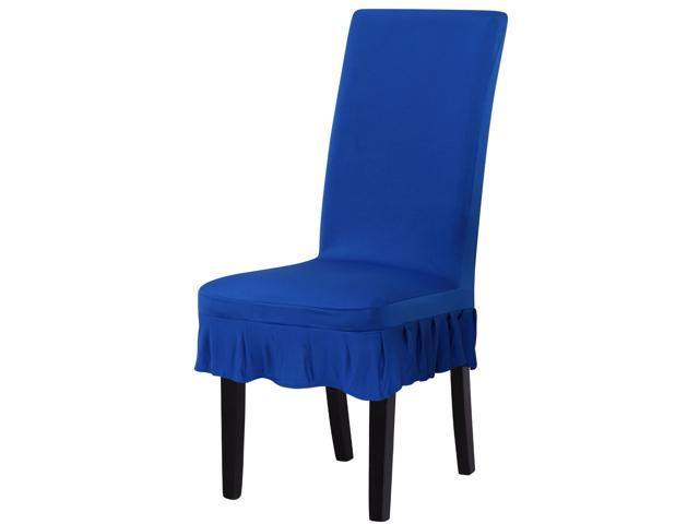 blue dining room chair covers | Stretch Spandex Short Dining Room Chair Covers Ruffled ...