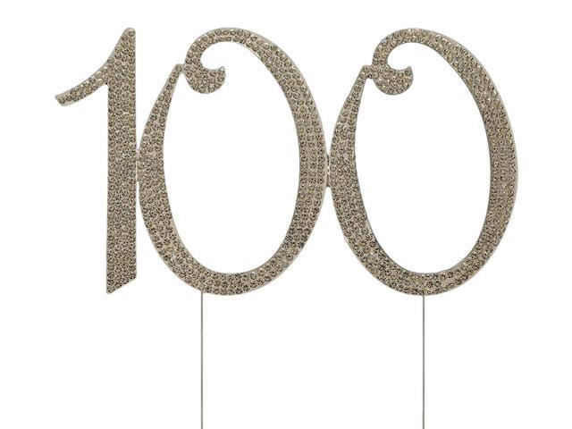 Numbrer 100 For 100th Birthday Or Anniversary Cake Topper Party Decoration Supplies Silver 45