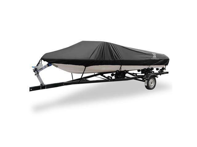 "Black 16-18ft 94/"" 300D V-Hull Boat Cover Waterproof Trailerable 590 x 290cm"