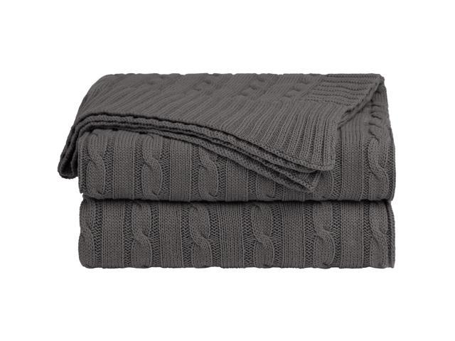 Cotton Cable Knit Throw Blanket Super Soft Throw Couch Covers Decorative Knitted Blankets For Sofa Bed Dark Grey Throw 47 X 70