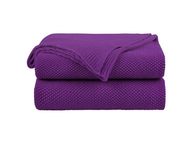 100 Cotton Knit Throw Blanket Solid Decorative Sofa Throws Soft Purple Knitted For Couch 50 X 60