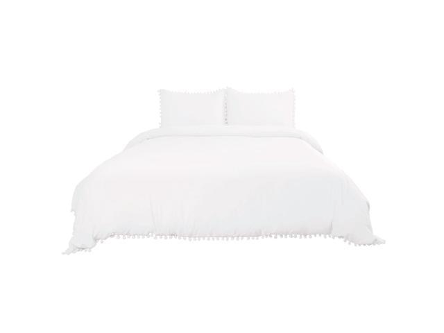 Solid Color 100 Wash Cotton 3 Piece Duvet Cover Set With Pompon Tels High Thread