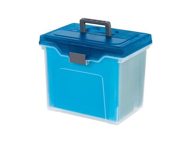 Staples Portable File Box Letter Size Clear w/Blue Lid (110990) 757451 -  Newegg com