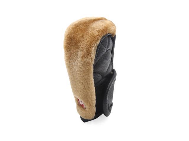 Car Brown Faux Leather Anti-slip Zipper Clouse Gear Shift Knob Cover Protector