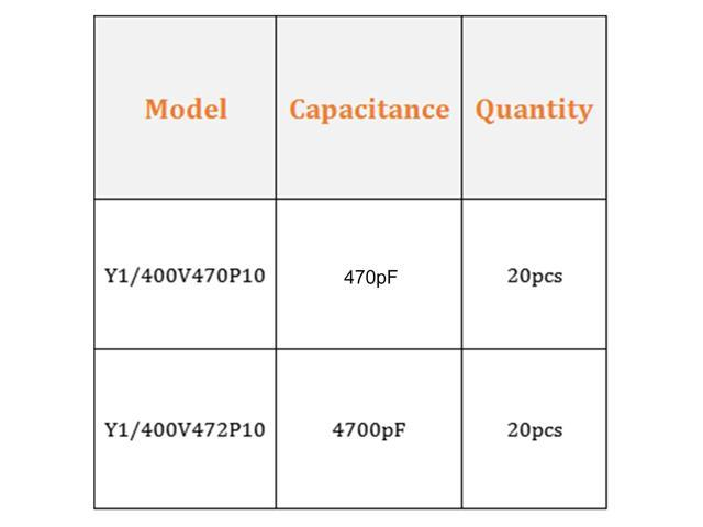 Ceramic Safety Capacitor Assortment Kit DIP Y1 400V 2 Value - 47pF 4700pF  40 Pcs - Newegg com