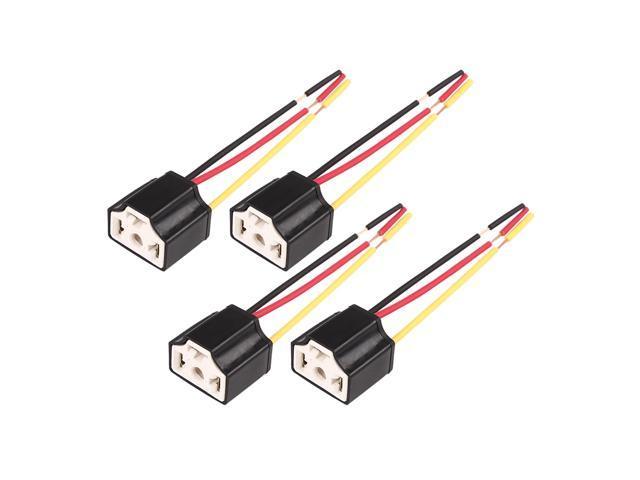 DC 12V H4 Car Light Socket Ceramic Headlight Wire Harness Connector Headlight Wire Harness on
