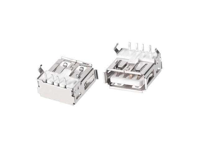 20PCS USB 2.0 Type A Female Socket Connector 4-Pin 180 Degree Repair Adapter