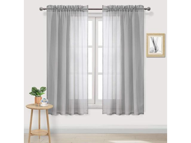 DWCN Grey Voile Sheer Curtains Faux Linen Rod Pocket Bedroom Curtains, Set  of 2 Panels,Window Drapes 52 x 63 inch Length - Newegg.com
