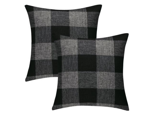 Buffalo Check Plaid Throw Pillow Covers Cotton Linen Clic Retro Farmhouse Square Cushion Cases For Sofa Bedroom Car 22 X Inch Pack Of 2 13